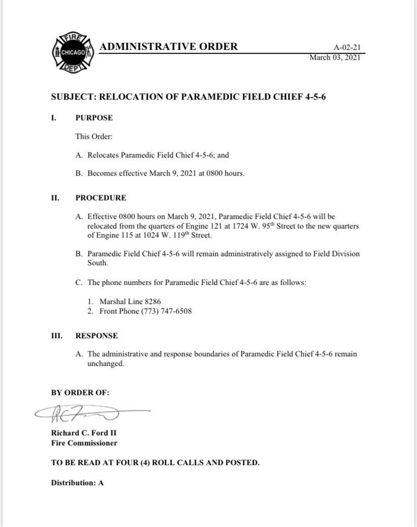 Chicago FD relocates Paramedic Field Chief 4-5-6