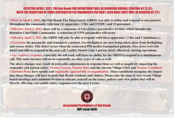 Oak Brook Fire Department reduction in staffing