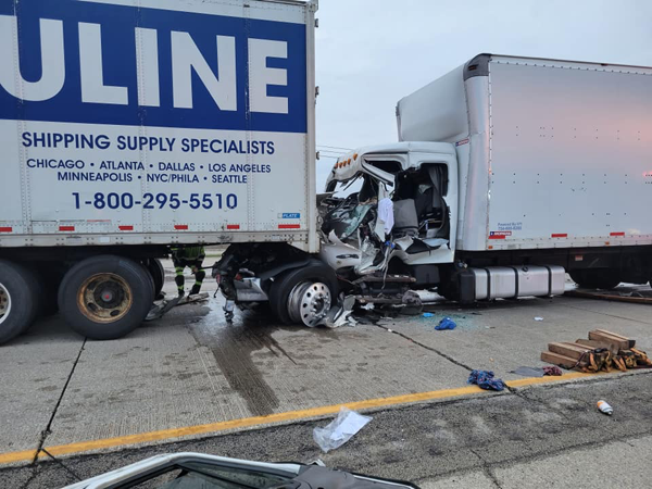 serious damage to truck hitting another truck