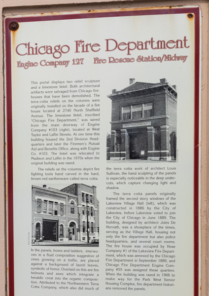 historic marker describing Chicago FD artifacts