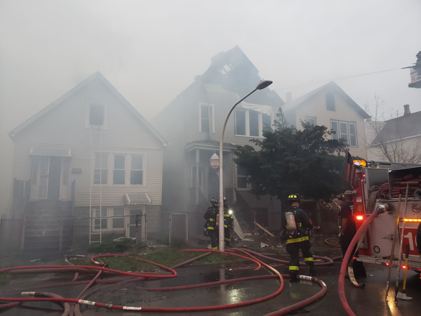 aftermath of house fire in Chicago