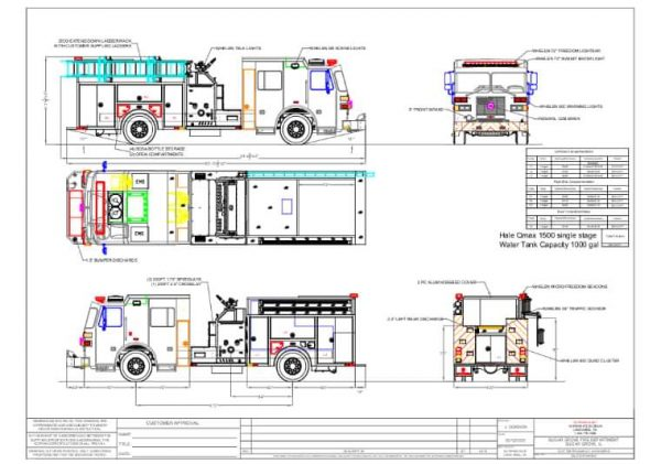 drawing of a new Sutphen fire engine for the Sugar Grove FPD