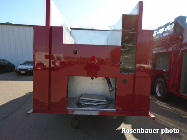 freshly painted fire engine body by Rosenbauer