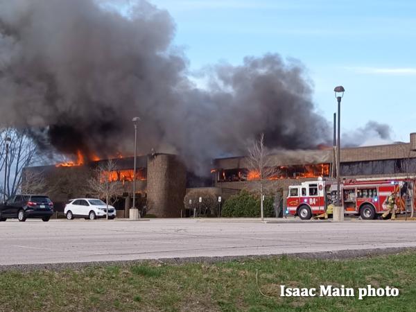 Cedar Rapids fire trucks on scene