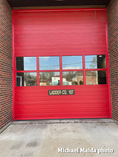 company name on fire station bay door
