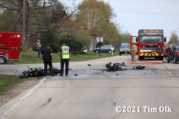 motorcycles crash in Pleasant Prairie WI