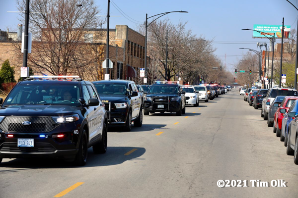 Procession to accompany the body of fallen Hometown Police Officer James Kouski to the Cook County Medical Examiner's office 4-3-21