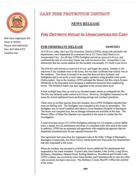 Cary FPD Press Release Holly Lynn House Fire.