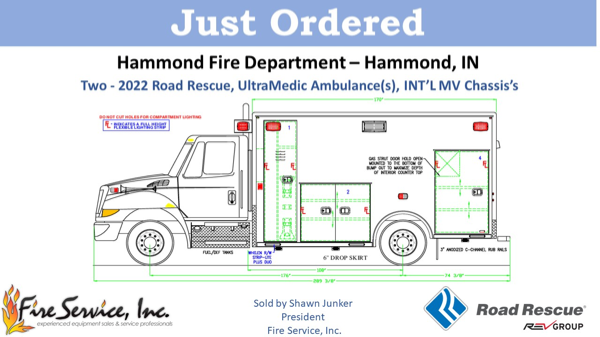 drawing of a 2022 Road Rescue Ultramedic ambulance on an IHC MV chassis for the Hammond FD in Indiana