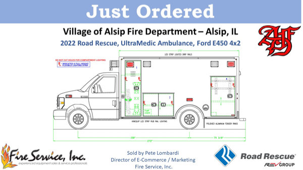 Drawing of 2022 Road Rescue, UltraMedic Type 3 ambulance on a Ford E450 chassis for the Alsip Fire Department