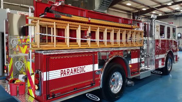 wooden ladders on new Pierce fire engine