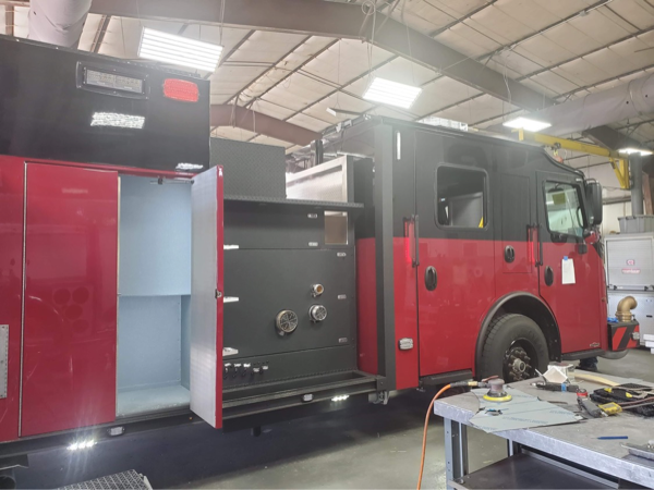 Rosenbauer fire engine with Line-X being built