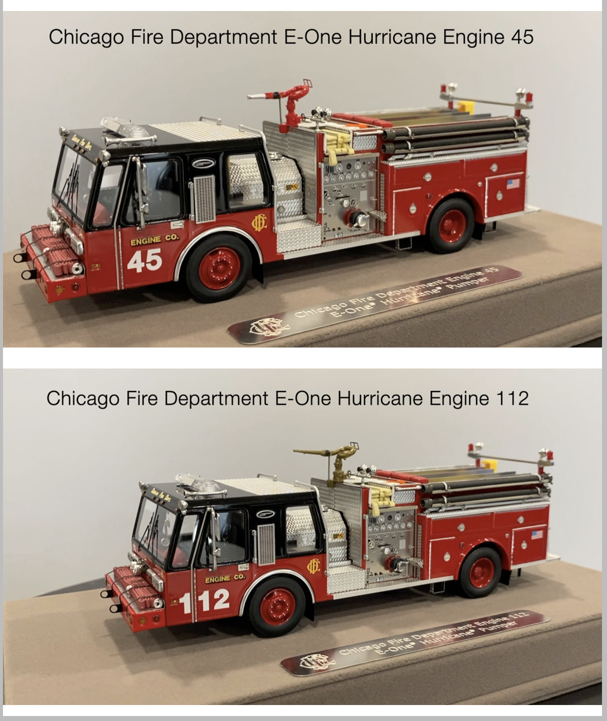 Fire Replicas 1985 E-ONE Hurricane fire engines in Chicago