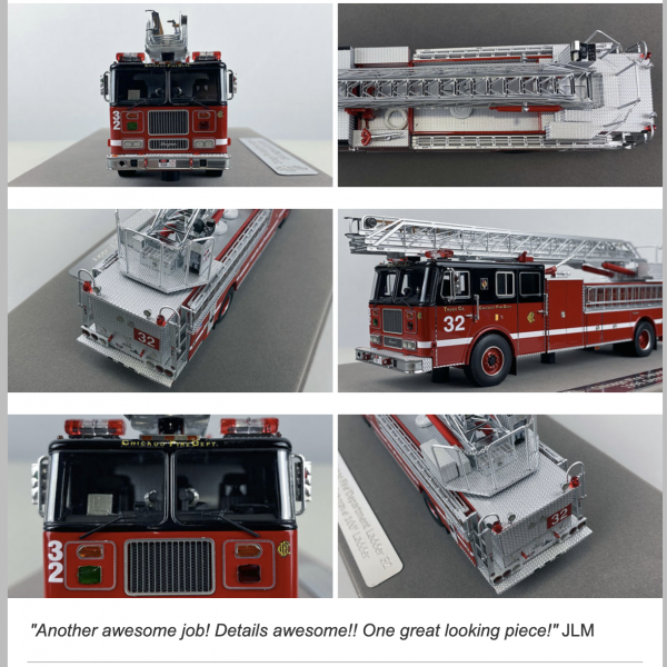 Fire Replicas model of 1996 Chicago FD Seagrave aerial ladder