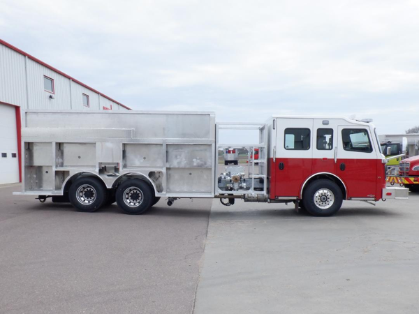 fire truck body mounted onto chassis