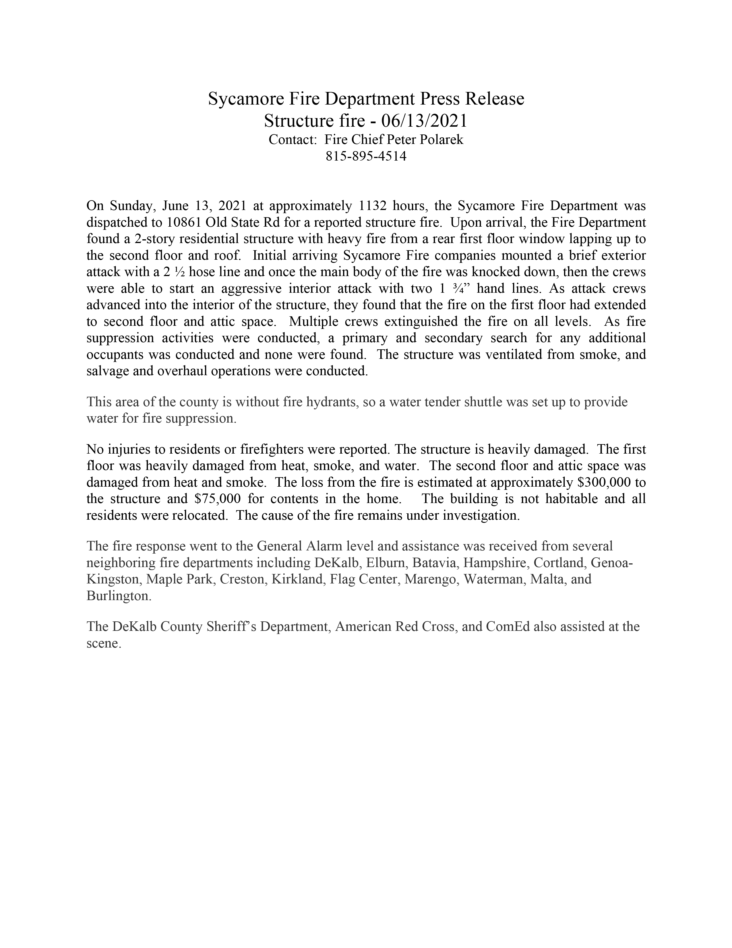 Sycamore Fire Department Press Release