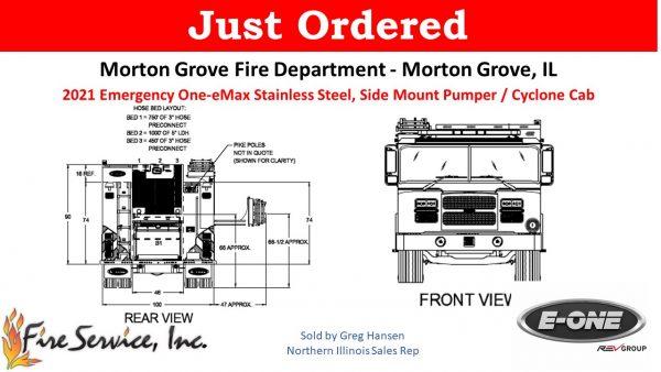 drawing of new E-ONE e-MX fire engine for the Morton Grove FD