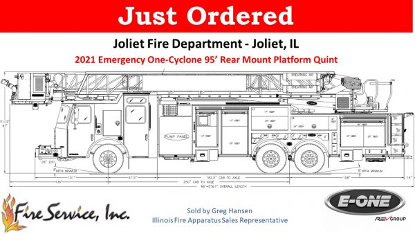 drawing of new E-ONE HP95 tower ladder for the Joliet Fire Department