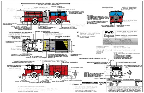 drawing of new Seagrave Marauder fire engine for the Lockport FPD in Illinois