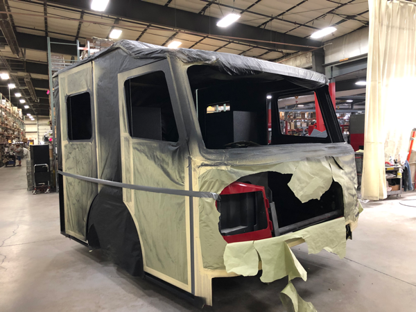 new Rosenbauer Commander cab after being painted