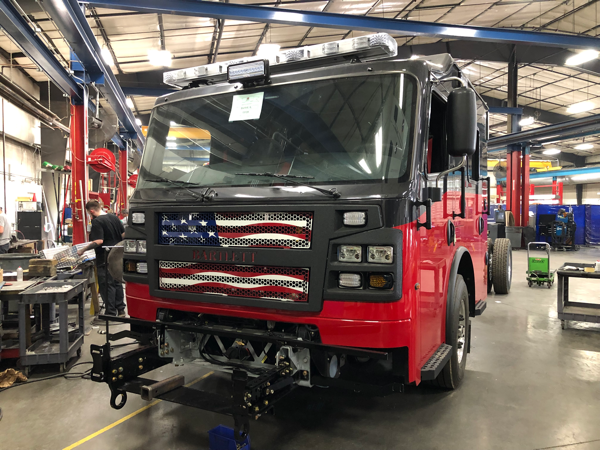Rosenbauer Commander cab and chassis being built