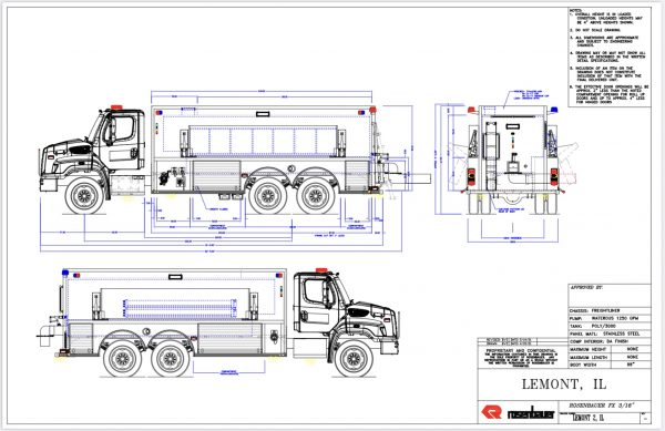 drawing of a Freightliner 114SD Rosenbauer 3,000-gallon tender for the Lemont FPD in Illinois