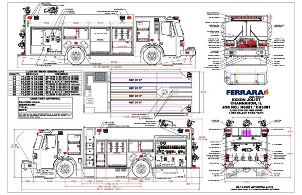 Drawing of a new Ferrara super pumper for the Exxon Refinery in Joliet, IL