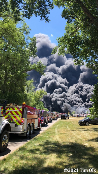 fire trucks lined up at massive fire