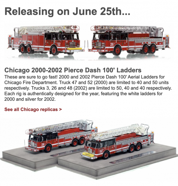 New Chicago FD replica models from Fire Replicas - Truck 26 and Truck 52