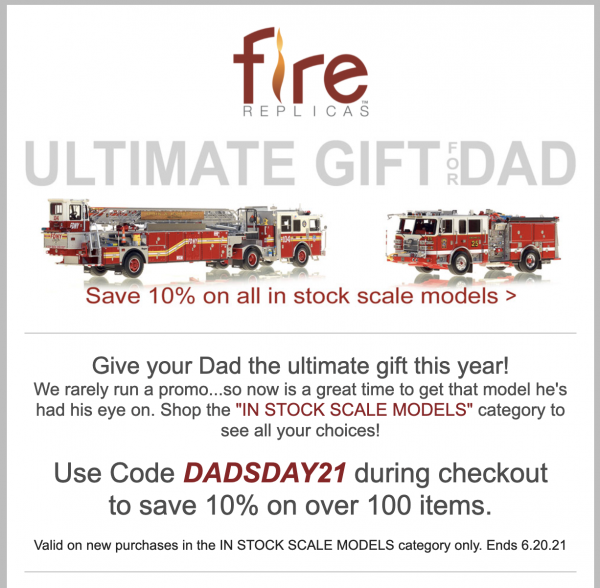 Father's Day Sale at Fire Replicas
