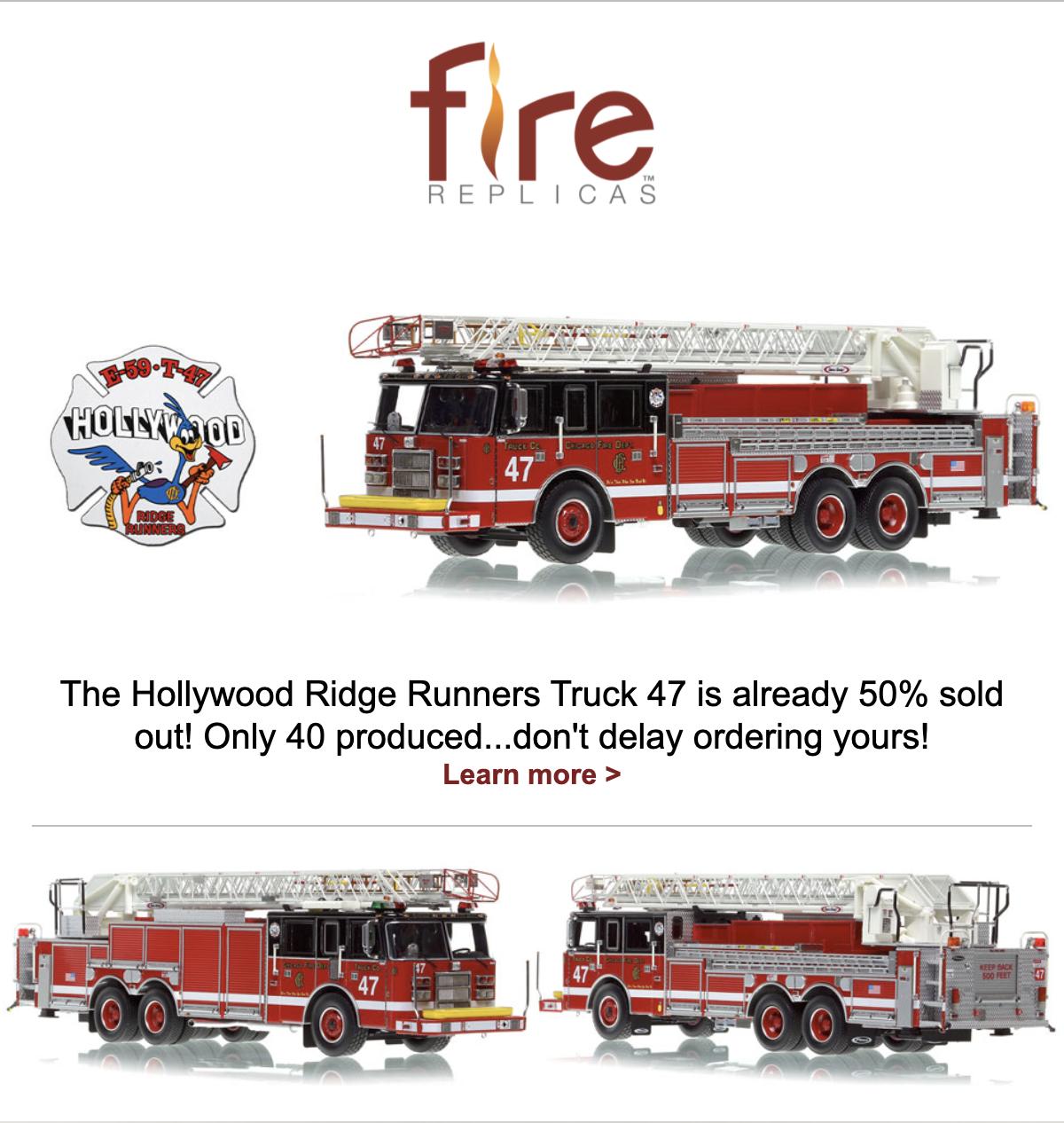 Fire Replicas model of Chicago FD Truck 47