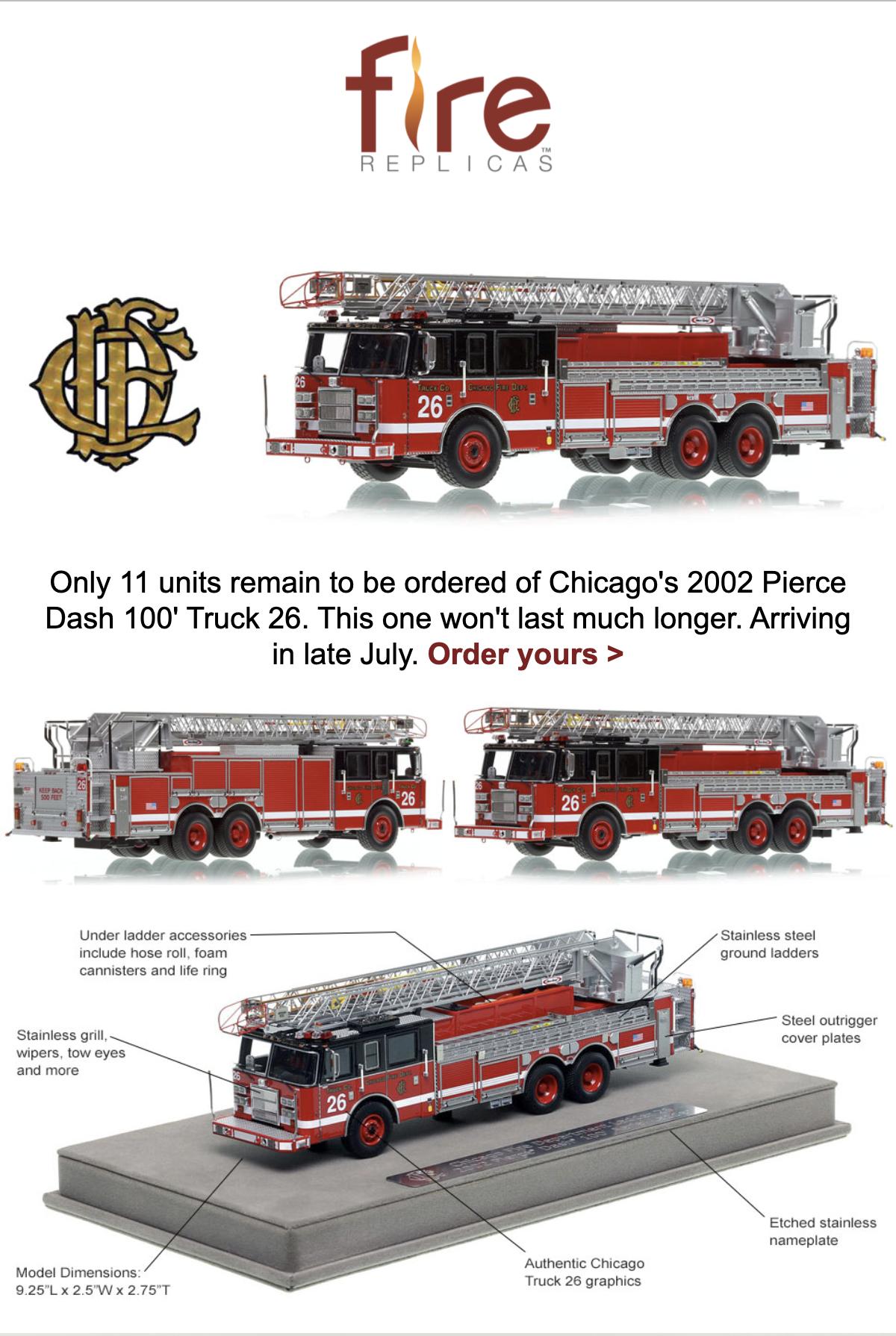 Fire Replicas model of Chicago FD Truck 26 Pierce Dash