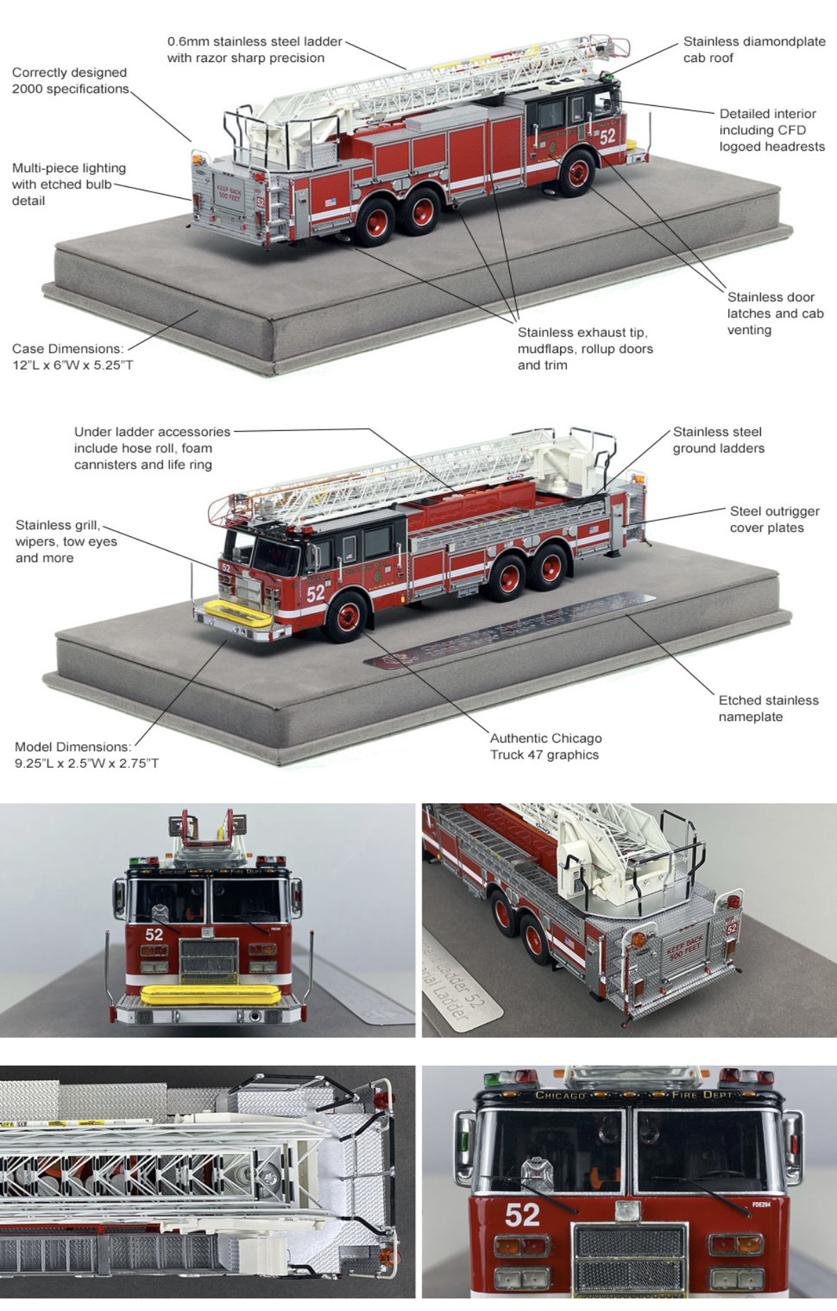 Fire Replicas model of Chicago FD Truck 52 Pierce Dash