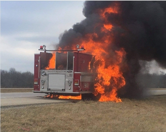Pierce fire engine destroyed by fire