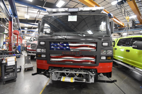 Rosenbauer Commander cab with American flag grille