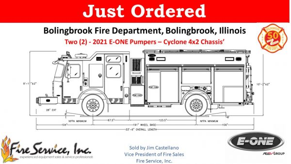 drawing of a new E-ONE Cyclone eMAX rescue pumper for the Bolingbrook FD in Illinois