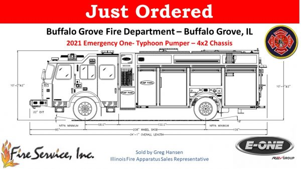 drawing of a new E-ONE Typhoon eMAX rescue pumper for the Buffalo Grove FD in Illinois