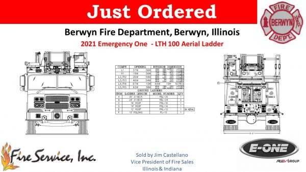 drawing of E-ONE LTH 100' aerial ladder for the Berwyn Fire Department