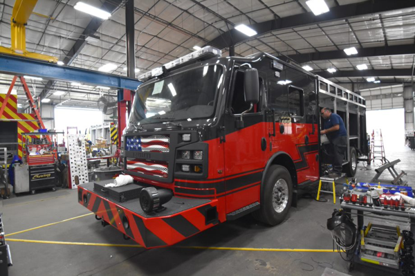 Rosenbauer Commander cab with Line-X blacked out