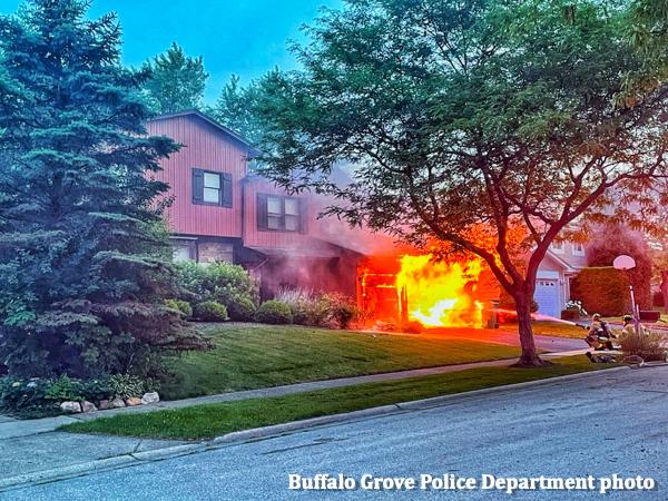 garage fire at 439 Buckthorn Terrace in Buffalo Grove