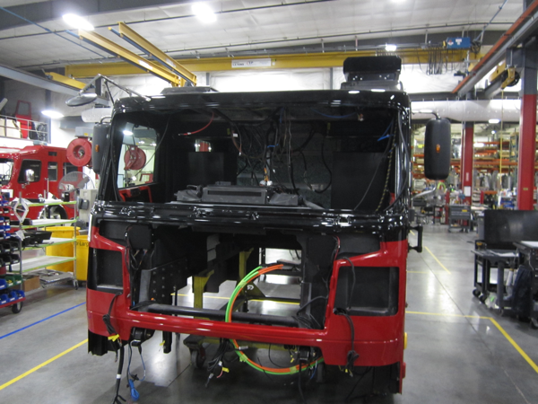 Rosenbauer Commander cab after being painted
