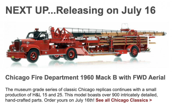 New Fire Replicas models of Chicago FD tractor-drawn aerial featuring a 1960 B-Model Mack tractor with FWD trailer