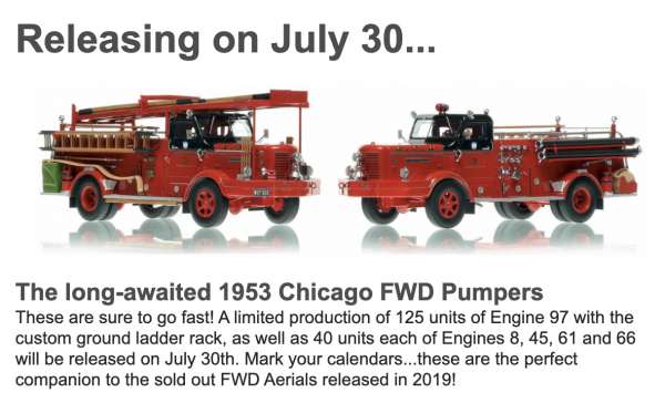 New Fire Replicas models of Chicago FD 1953 FWD pumpers