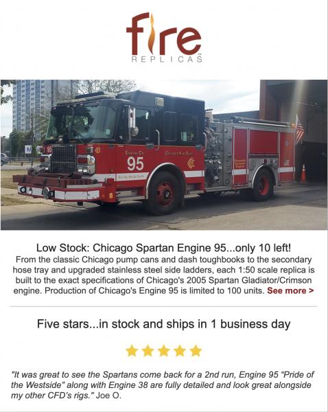 Fire Replicas model of Chicago FD Engine 95 - Spartan / Crimson