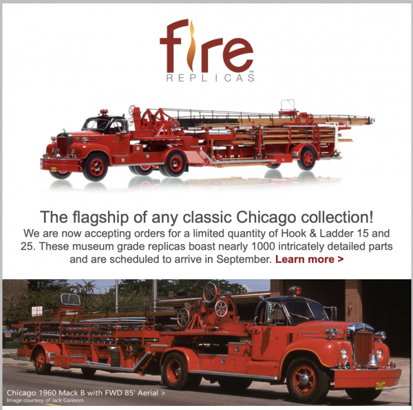 Classic Chicago B-Model tractor with FWD trailer replica model
