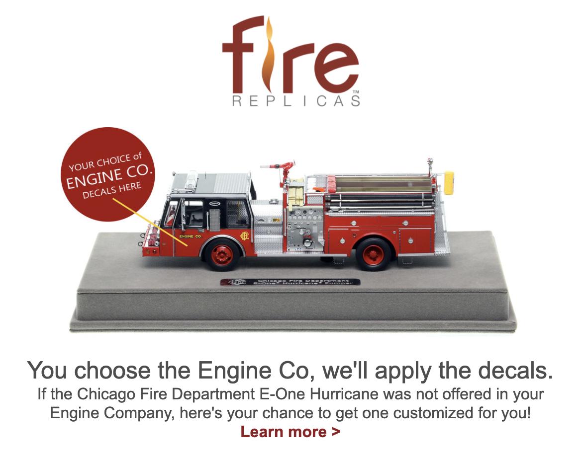 Fire Replica model of 1985 Chicago FD E-ONE Hurricane fire engine