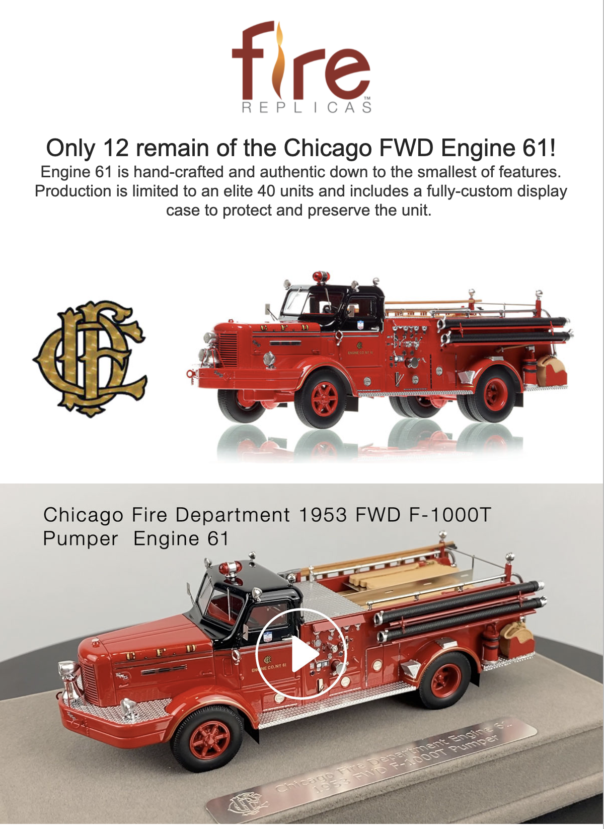 Chicago FD 1953 FWD fire engine replica model