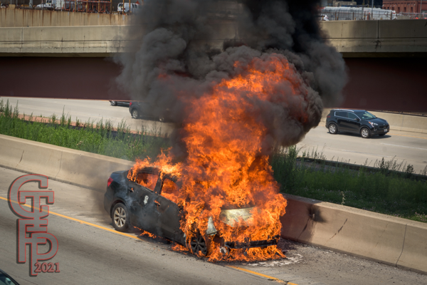 car destroyed by fire on the interstate