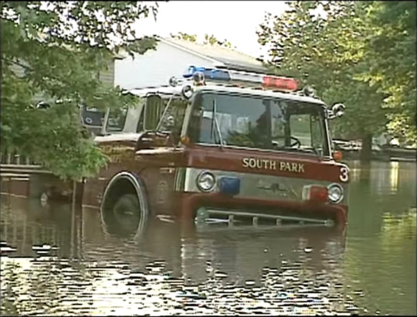 South Park FD fire truck submerged in water during the 1996 Aurora IL flood