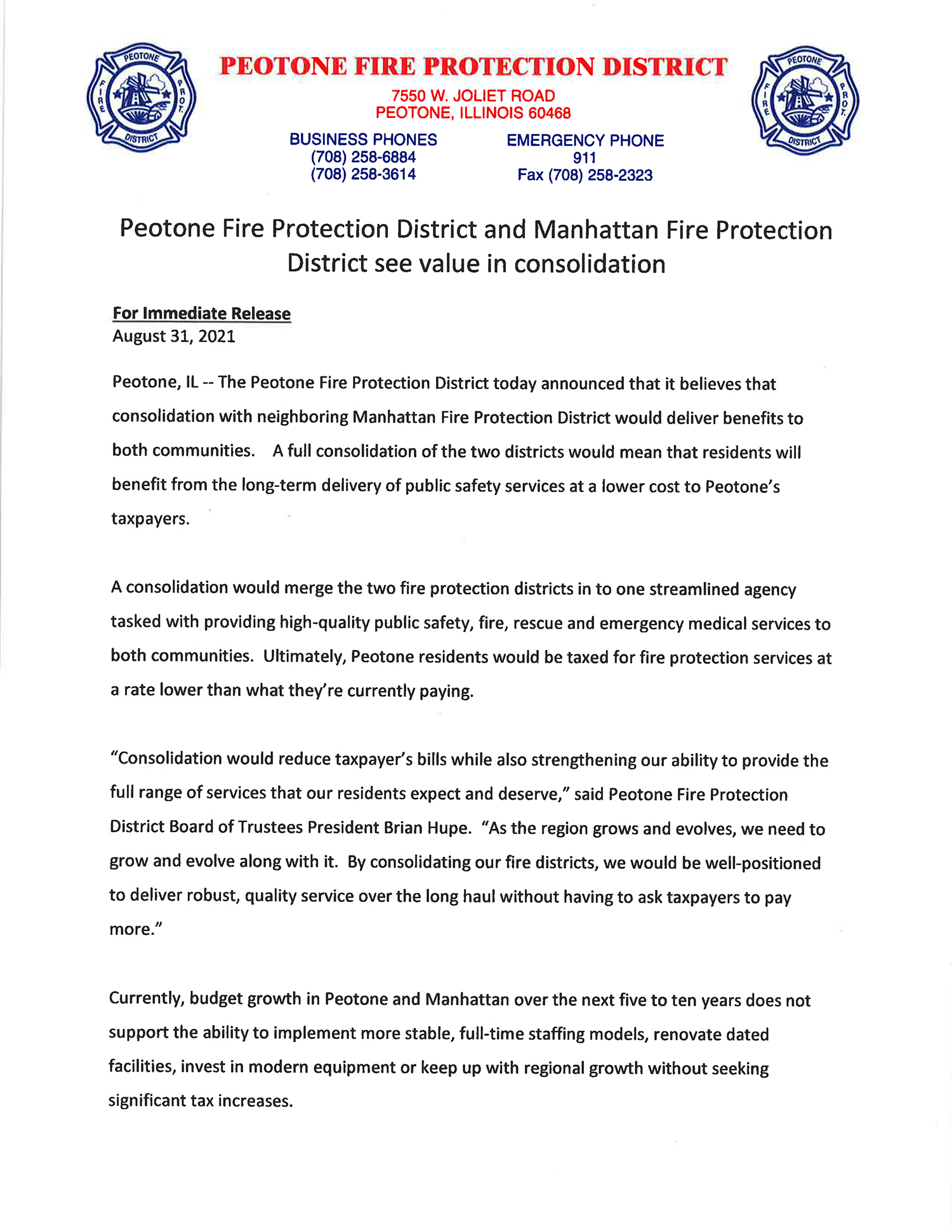 Consolidation report Peotone in Manhattan Fire Protection District